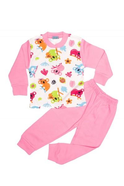 Pijama copii citcit roz imprimeu frunze