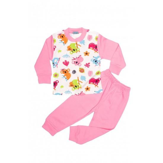 Pijama citcit roz imprimeu frunze