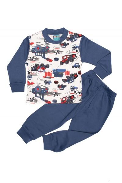 Pijama copii citcit bleumarin imprimeu masini