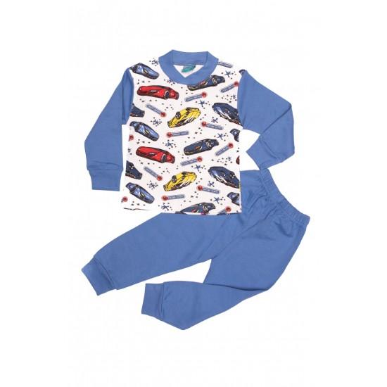 Pijama copii citcit albastra imprimeu masini