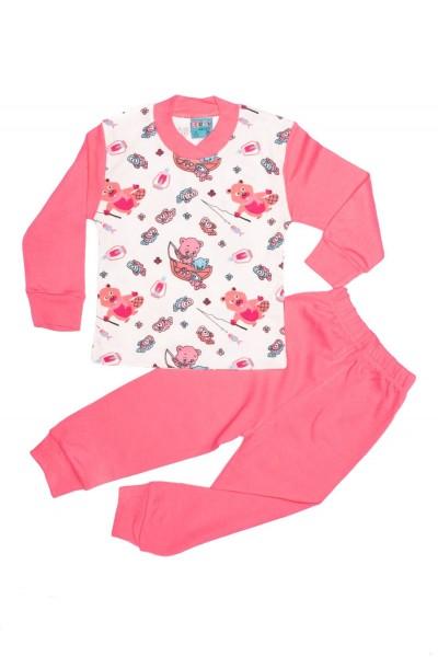 Pijama copii citcit roz imprimeu ursuleti la pescuit