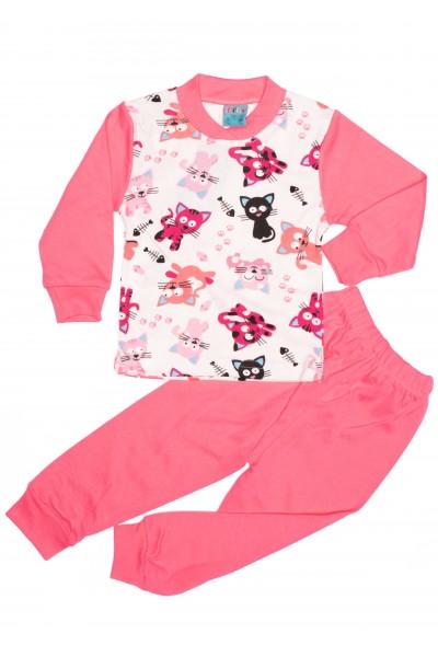pijama copii citcit roz imprimeu pisicute