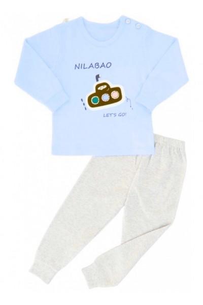 pijamale copii bumbac premium albastru submarin