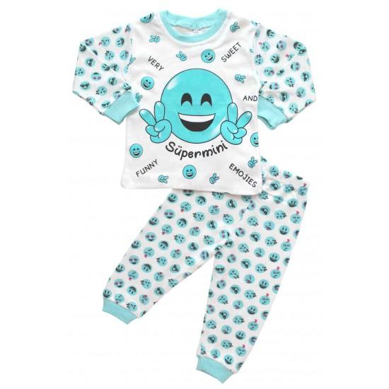 Pijamale bumbac copii smile azur