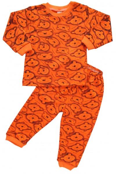 pijamale bumbac copii ursi portocalii