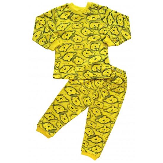 pijamale bumbac copii ursi galbeni