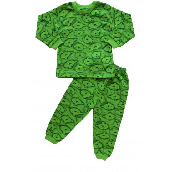 pijamale bumbac copii ursi verzi