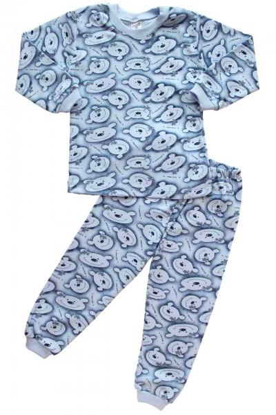 pijamale bumbac copii ursi albastru-bleu