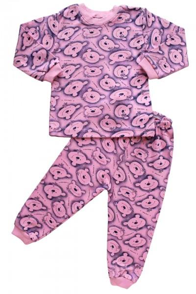 pijamale bumbac copii ursi roz