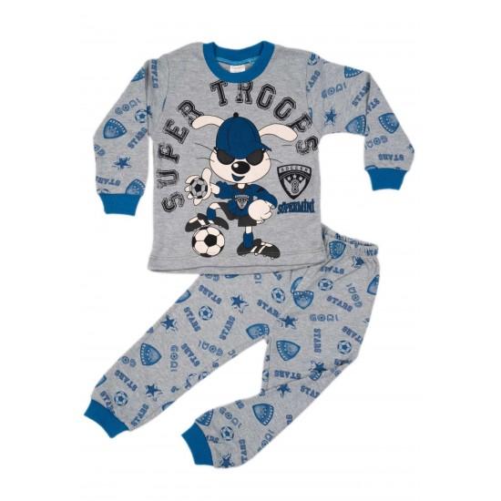 Pijamale copii bumbac gri imprimeu iepuras