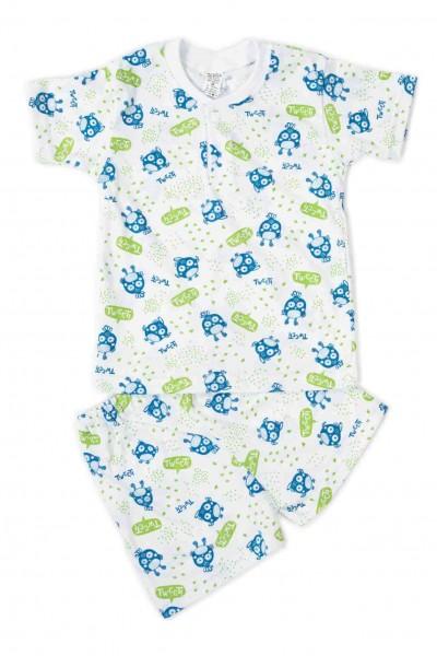 Pijamale copii bumbac subtire azuga tweet verde-albastru