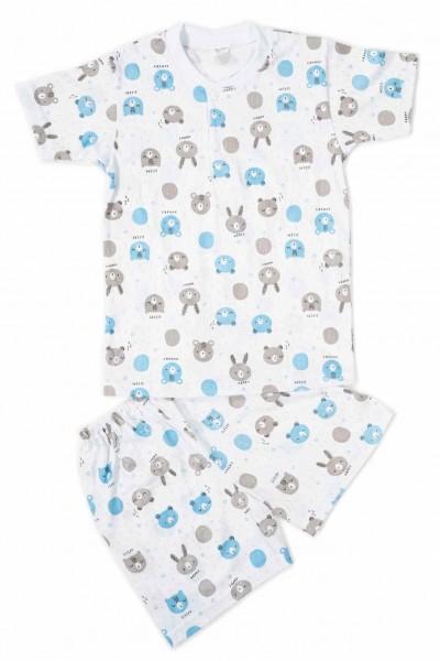 Pijamale copii bumbac subtire azuga cap urs bleu-gri