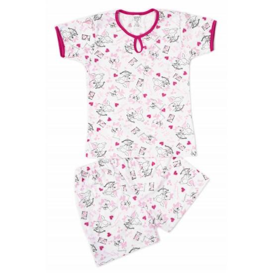 Pijamale copii bumbac subtire azuga pisici roz