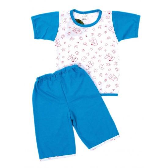 Pijamale copii bumbac subtire turcoaz si ursuleti rosii