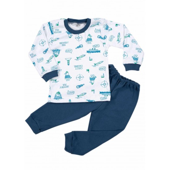 Pijamale copii bumbac iris vaporase ahoy bleumarin