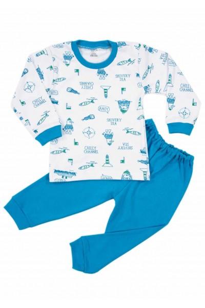 Pijamale copii bumbac iris vaporase ahoy turcoaz