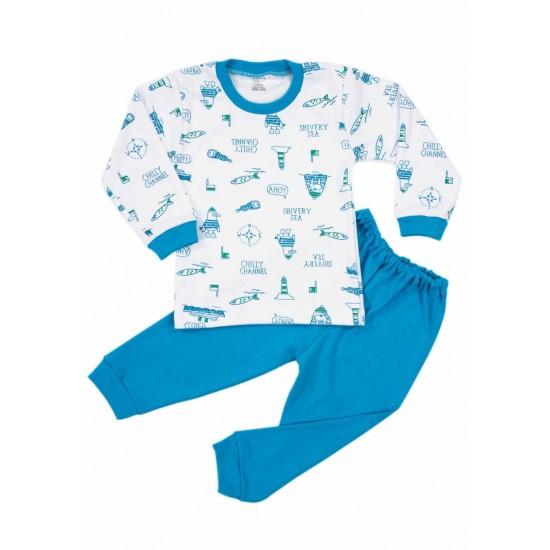 Pijamale copii bumbac irs vaporase ahoy turcoaz