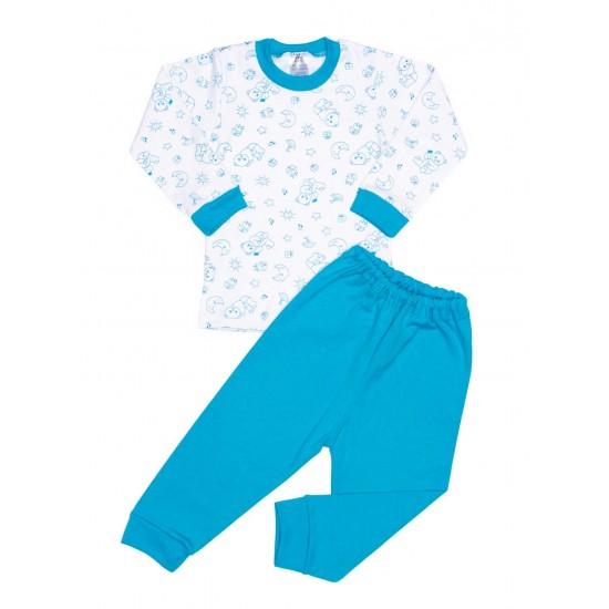 Pijamale copii bumbac iris ursuleti turcoaz