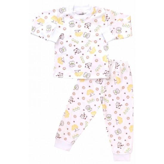 pijamale copii bumbac ferma galbena