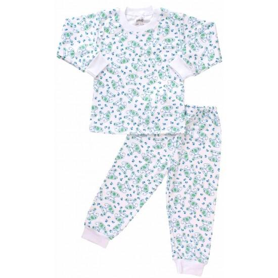pijamale copii bumbac catei verzi
