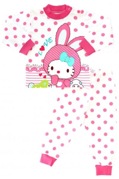 pijama copii bumbac premium roz iepuras buline