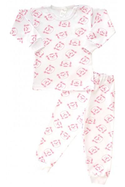 Pijamale copii bumbac capse umar ursi roz