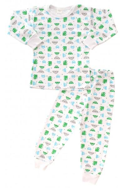 Pijamale copii bumbac capse umar masini verzi