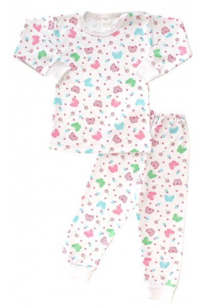 Pijamale copii bumbac capse umar fluturi