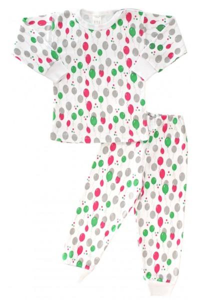 Pijamale copii bumbac capse umar baloane roz + verzi