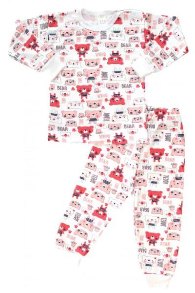 Pijamale copii bumbac capse umar ursi rosii