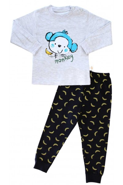 pijamale copii bumbac premium gri monkey
