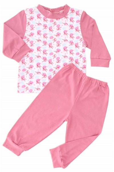 pijamale copii bumbac adonis flori roz pantaloni marsala