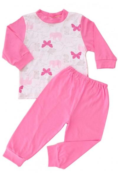 pijamale copii bumbac adonis fluturi roz pantaloni roz