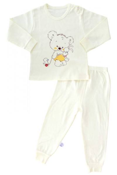 pijamale copii bumbac premium galbena urs