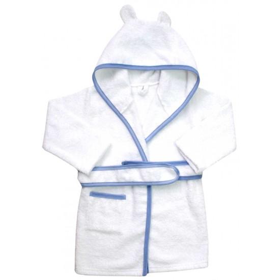 halat de baie copii alb margini bleu