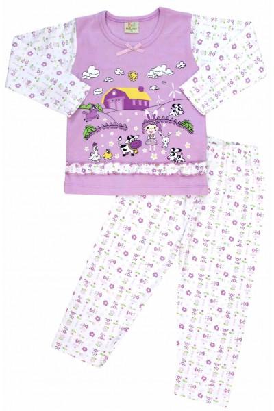 pijamale copii bumbac premium mov ferma