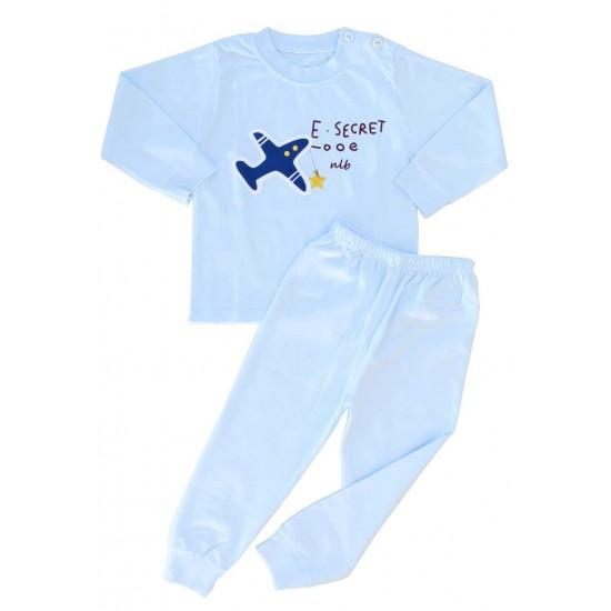 pijamale copii bumbac premium bleu avion