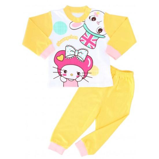 pijamale copii bumbac premium kitty galben