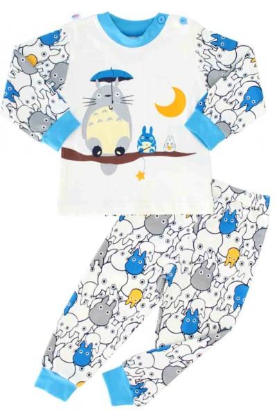 pijamale copii bumbac premium bleu animalut