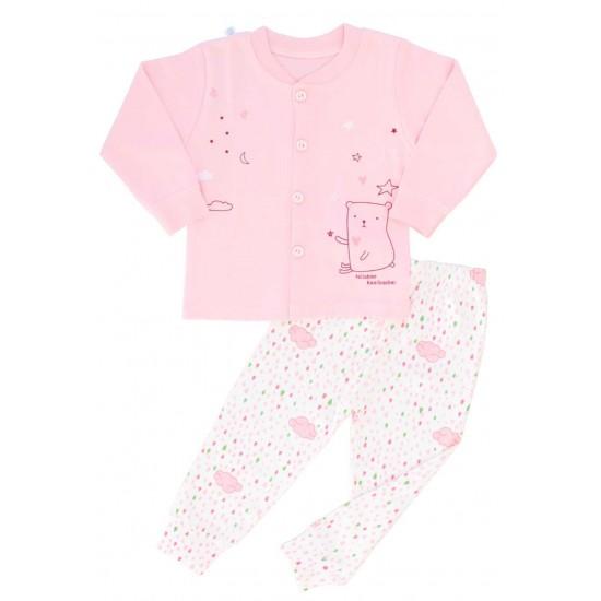 pijamale copii bumbac premium roz nasturi