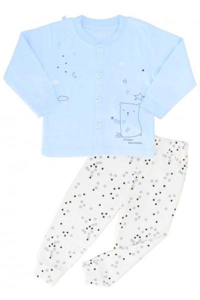 pijamale copii bumbac premium bleu nasturi