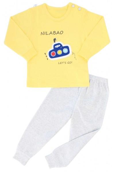 pijamale copii bumbac premium galben submarin