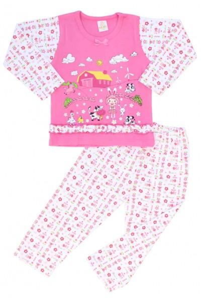 pijamale copii bumbac premium roz ferma