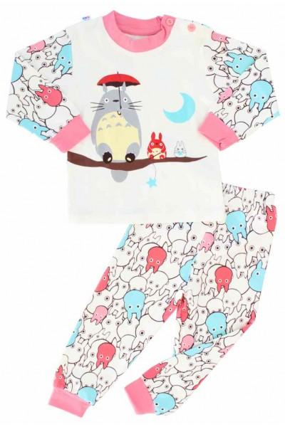 pijamale copii bumbac premium roz animalut