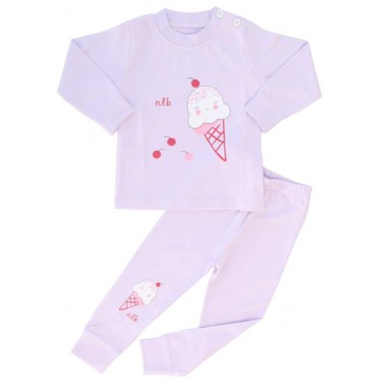pijamale copii bumbac premium lila inghetata