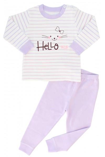 pijamale copii bumbac premium dungi mov