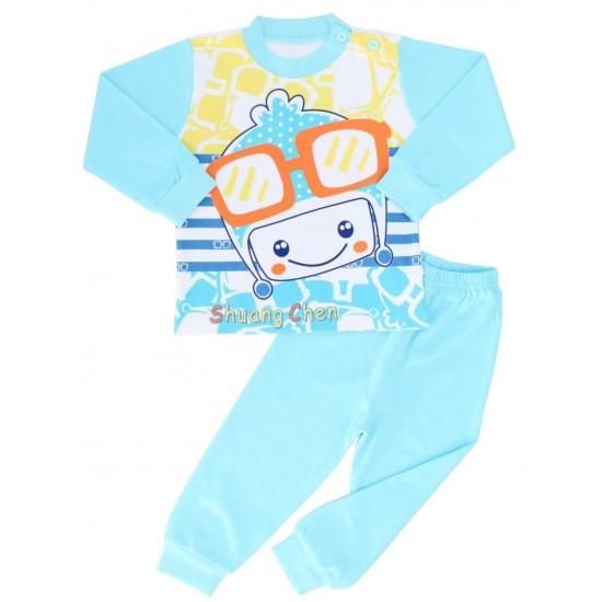 pijamale copii bumbac premium bleu robot