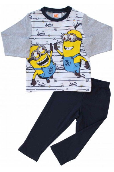 pijamale copii bumbac premium gri minioni