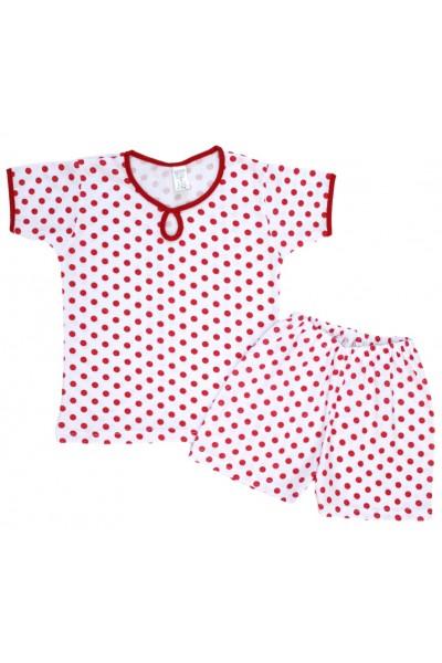 pijamale copii bumbac subtire buline rosii