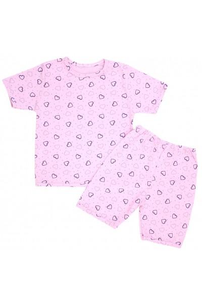 pijamale copii bumbac subtire roz inimioare